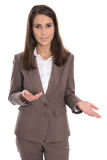 isolated-businesswoman-brown-presenting-showing-hand-attractive-business-woman-making-gesture-44658207